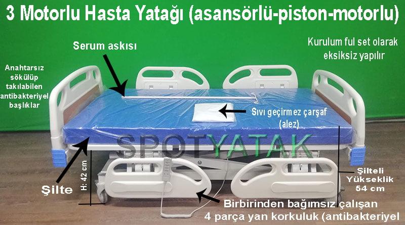 Üç motorlu hasta yatağının özellikleri