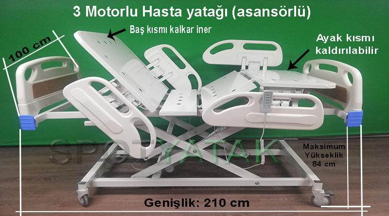 Üç motorlu hasta yatağı modeli