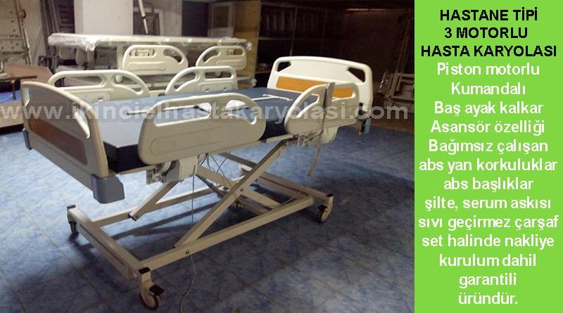 3 Motorlu hastane tipi hasta karyolası