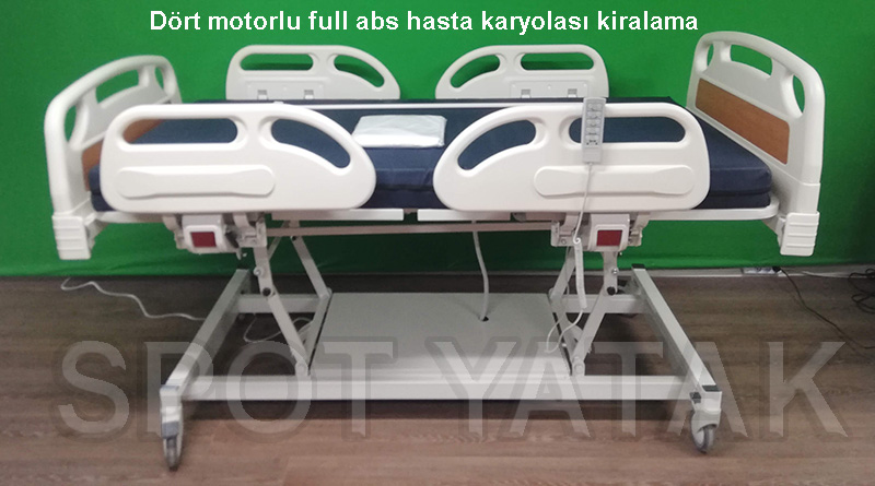 Dört motorlu hastane tipi trendelemburg hasta karyolası