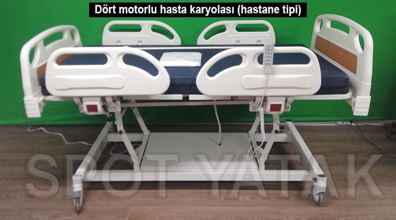 Dört motorlu hasta karyolası (hastane tipi)